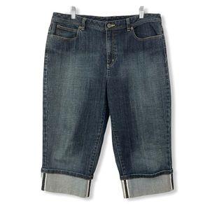 Talbots Cropped Capri Jeans Cuffed Leg Stretch 16P